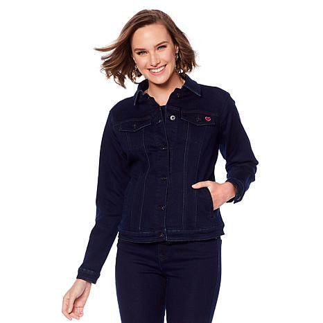 DG2 by Diane Gilman Denim Jacket with Embroidered Heart