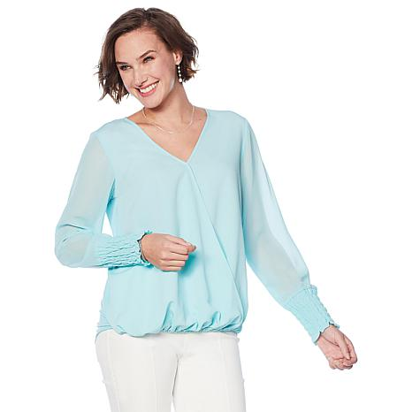 DG2 by Diane Gilman Drape V-Neck Top with Sheer Sleeves