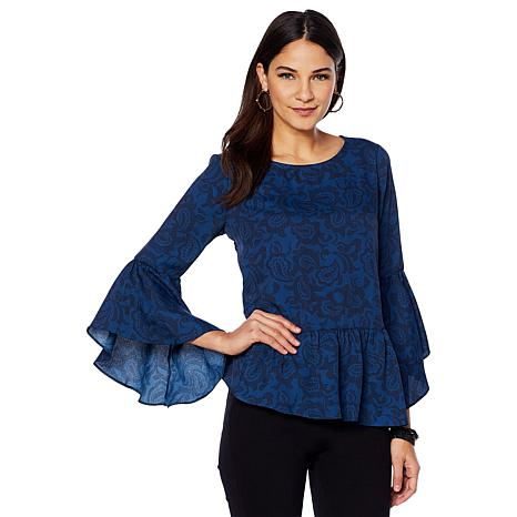 DG2 by Diane Gilman Flare Sleeve Printed Peplum Top