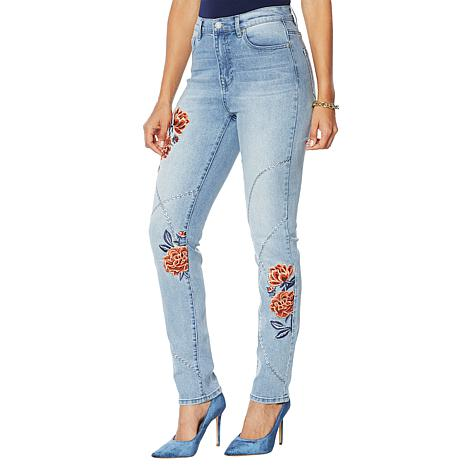 DG2 by Diane Gilman Floral Chain Embroidered Skinny Jean