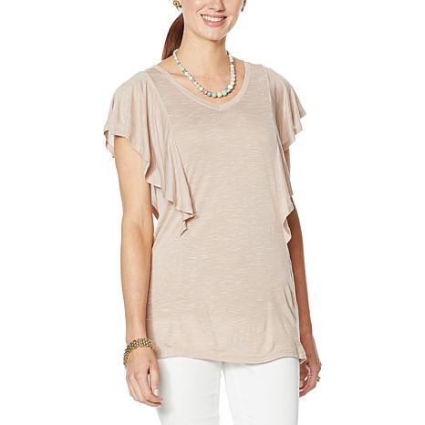 718519 NWT DG2 by Diane Gilman Womens Flutter Sleeve T-Shirt Tee