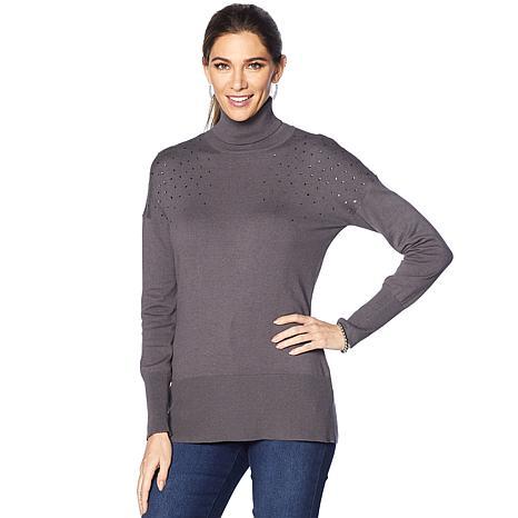 DG2 by Diane Gilman Jeweled Turtleneck Sweater