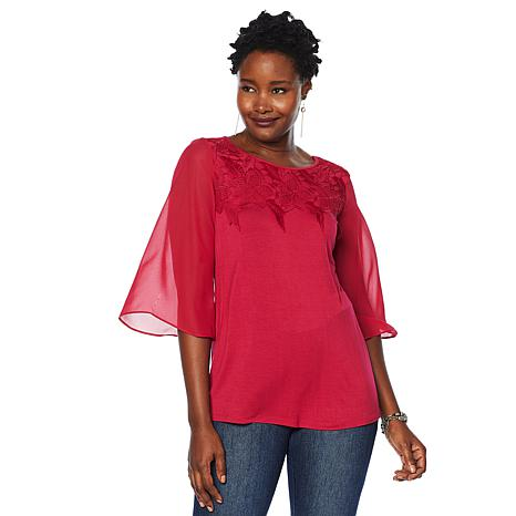DG2 by Diane Gilman Lace-Neck Top with Chiffon Bell Sleeves
