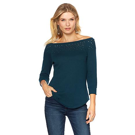 DG2 by Diane Gilman Off-the-Shoulder French Terry Top