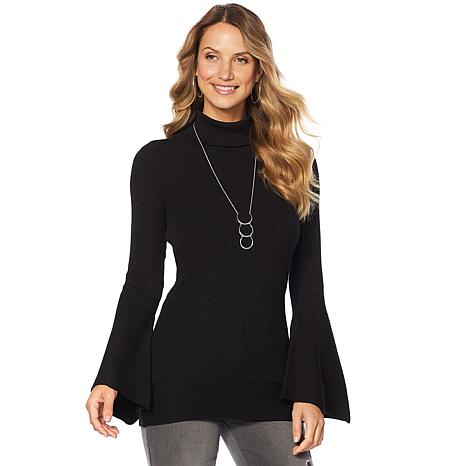 DG2 by Diane Gilman Quad Blend Bell-Sleeve Turtleneck