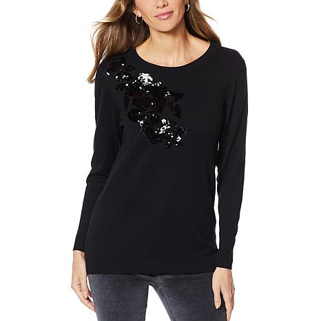 DG2 by Diane Gilman Quad Blend Sequin Floral Sweater