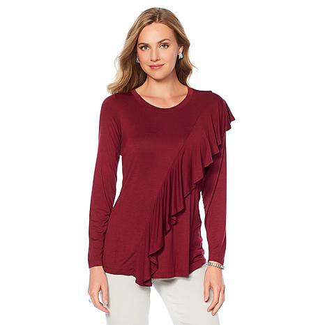 DG2 by Diane Gilman Ruffle-Front Top