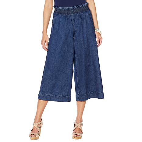 DG2 by Diane Gilman Smocked-Waist Flared Trouser