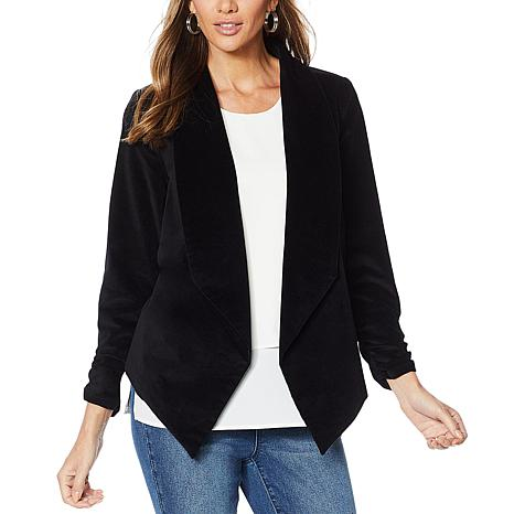 DG2 by Diane Gilman Stretch Velvet Open-Front Blazer