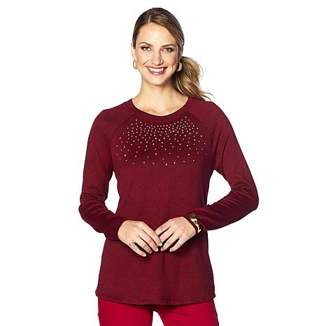 DG2 by Diane Gilman Studded Stretch Brushed Knit Top