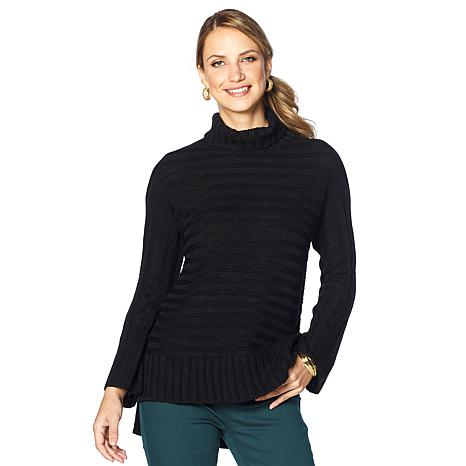 DG2 by Diane Gilman Turtleneck Flare-Sleeve Sweater