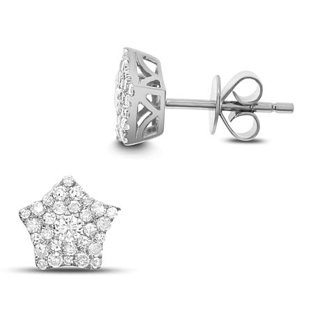 Diamond Couture 14K Gold 0.39ctw Diamond Star Cluster Earrings