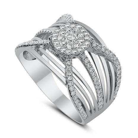 Diamond Couture 14K Gold 0.75ctw Diamond Round Cluster Multi-Band Ring