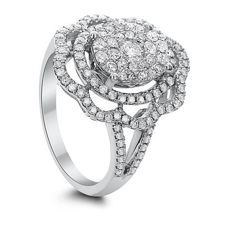 Diamond Couture 14K White Gold 1ctw Diamond Floral Ring