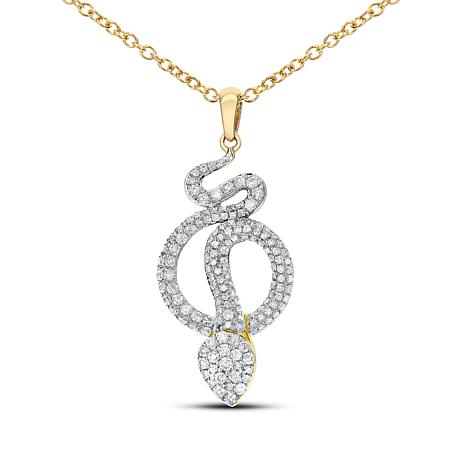 Diamond Couture 14K Yellow Gold 0.5ctw Diamond Snake Pendant