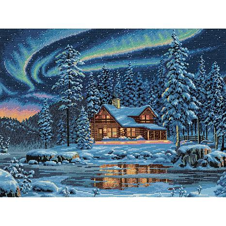 Dimensions Gold Cross Stitch Kit - Aurora Cabin