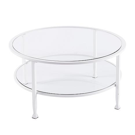 Dina Metal/Glass Round Cocktail Table - White