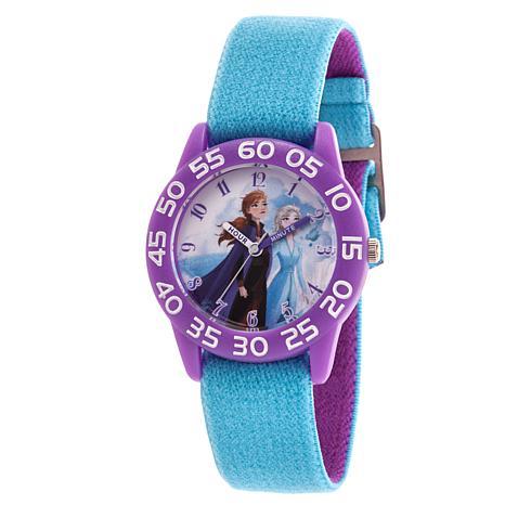 Disney Frozen 2 Elsa and Anna Kids' Purple Watch with Reversible Strap