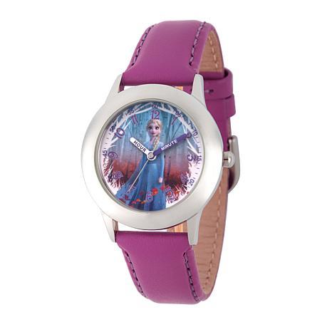 Disney Frozen 2 Elsa Kids' Watch with Purple Leather Strap