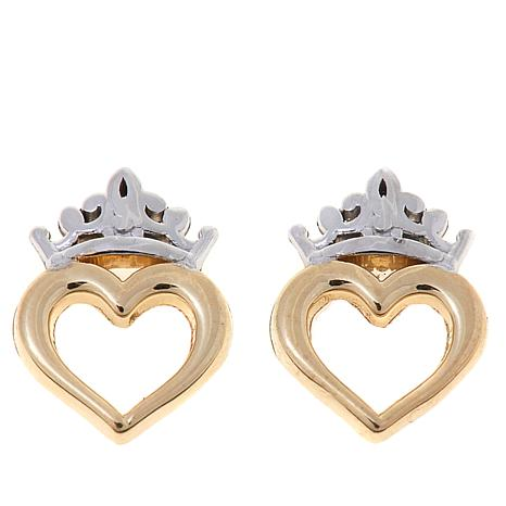 37150f023 Disney Kids 14K 2-Tone Heart Crown Stud Earrings - 8524310 | HSN