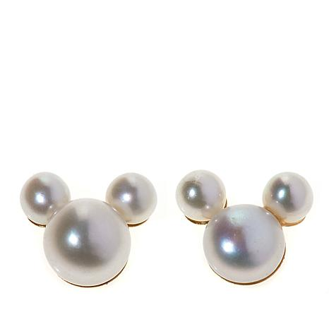 Disney Kids 14K Mickey Mouse Pearl Stud Earrings