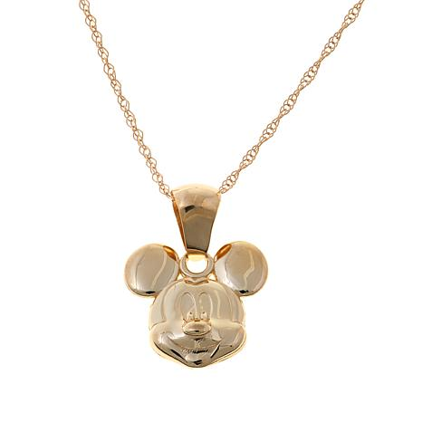 Disney Kids 14K Mickey Mouse Pendant with Chain