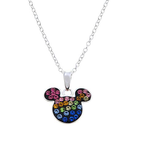 Disney Kids Rainbow Crystal Mickey Mouse Pendant with Chain
