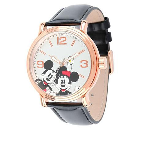 Disney Mickey & Minnie Rosetone Black Leather Watch