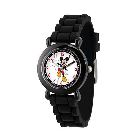Disney Mickey Mouse Kid's Black Time Teacher Watch w/ Silicone Strap