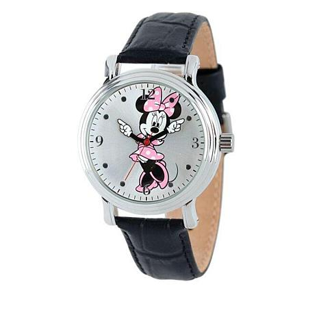 Disney Minnie Mouse Moving Hands Leather Strap Watch