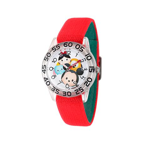 Disney Tsum Tsum Kid's Red Strap Time-Teacher Watch