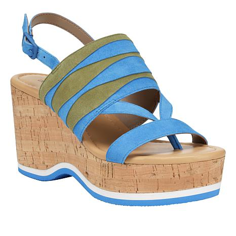 Donald J. Pliner Valri Leather and Suede Platform Wedge Sandal