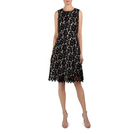 Donna Ricco Sleeveless Bonded Lace Fit and Flare Cocktail Dress