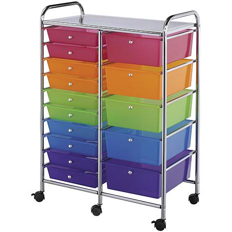 Double Storage Cart W/15 Drawers - 25.5X38X15.5 Multicolor