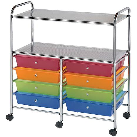 Double Storage Cart W/8 Drawers - 31.74X35X14.75 Multicolor