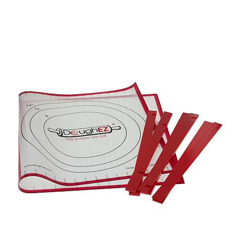 "DoughEZ 32"" x 17-1/2"" Pastry Mat with 6 Guide Sticks"