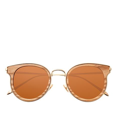 Earth Khaki Wood Derawan Polarized Goldtone Sunglasses