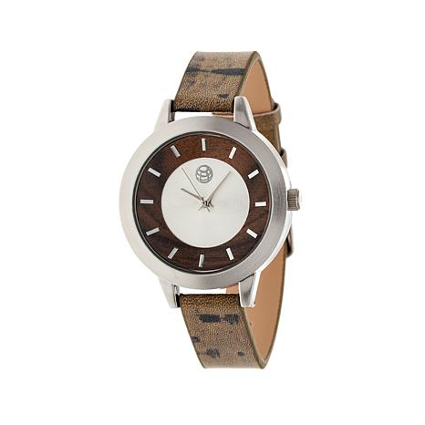 "Earth Wood ""Autumn"" Silvertone and Wood Dial Watch"