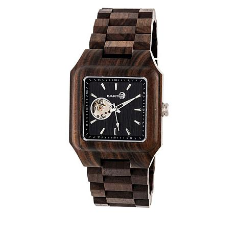 Earth Wood Black Rock Dark Brown Wood Bracelet Watch