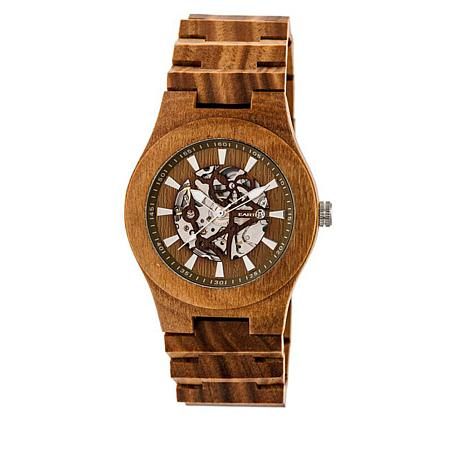 Earth Wood Gobi Skeleton Dial Olive Wood Bracelet Watch