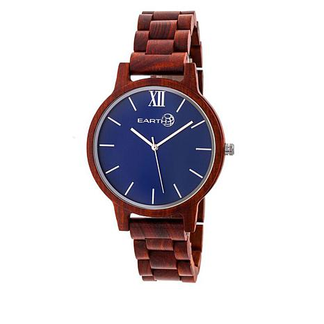 Earth Wood Pike Blue Dial Red Wood Bracelet Watch