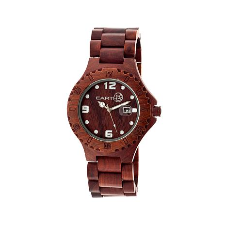 "Earth Wood ""Raywood"" Red Dial Wood Bracelet Watch"
