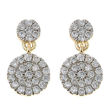EEver Brilliant 0.54ctw Lab-Grown White Diamond Circle Drop Earrings