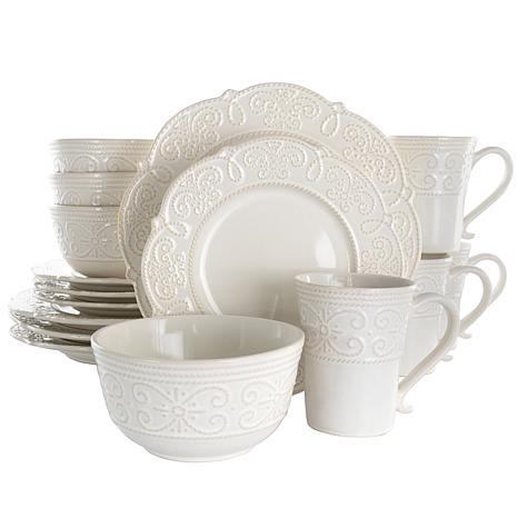 Elama Luna 16 Piece Embossed Scalloped Stoneware Dinnerware Set in ...