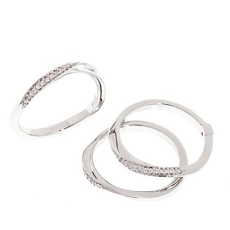 "ELLE ""Ocean"" Set of 3 Pavé CZ Wave Sterling Silver Rings"