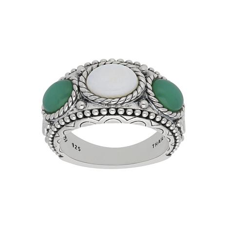 Elyse Ryan Sterling Silver Chrysoprase and Opal Ring