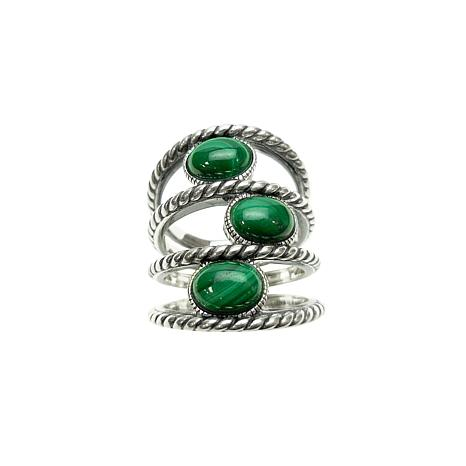 Elyse Ryan Sterling Silver Oval Malachite Negative Space Ring
