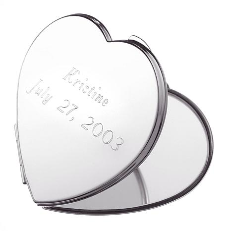Engravable Heart Mirror Compact
