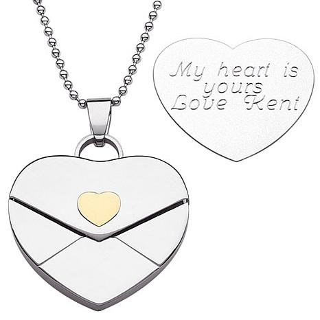 Stainless steel engraved heart envelope pendant 6024779 hsn engraved heart envelope pendant with 20 bead chain mozeypictures Gallery