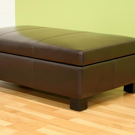 Esmeralda Leather Storage Ottoman Dark Brown